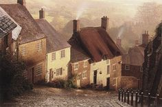 Set in one of England's many beautiful regions, Blackmore Vale contains some of the most scenic landscapes in the country. This amazingly detailed image by Chase features Gold Hill, which is a famous hill and street in Shaftesbury in the county of Dorset. Picasso, Beautiful Places In England, Outdoor Cafe, Cityscape Art, Texas Hill Country, Pictures To Paint, Beautiful Paintings, Van Gogh, Cool Art