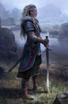 Viking Woman by John Wallin Liberto Inspiration Drawing, Character Inspiration, Fantasy Warrior, Medieval Fantasy, Dark Fantasy, Dnd Characters, Fantasy Characters, Fictional Characters, Fantasy Character Design