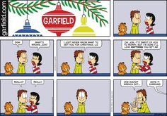 """Created by Jim Davis, Garfield is about the famous fat cat and his hilarious daily adventures with his """"pal"""" Odie and others. Garfield Cartoon, Garfield And Odie, Garfield Comics, Cartoon Jokes, Cat Cartoons, Christmas Comics, Christmas Humor, Jim Davis, Funny Relationship"""