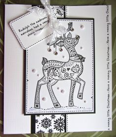 My version of Zentangle using my 'Patch Reindeer' stamp Christmas Decorations For Kids, Christmas Inspiration, Christmas Ideas, Christmas Crafts, Zentangle Patterns, Zentangles, Some Cards, Xmas Cards, All Things Christmas