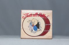 Porky Pig That's All Folks 1990 Rubber Stampede Wood & Foam Backed Rubber Stamp            http://autopartspuller.com/ Great Sale 50% off entire store!! Copper, Glassware, Wood Crafts, Scrap Booking   Also Find us on:  http://hometownvintage.com http://autopartspuller.com @HomeTownVintage @autopartspuller @preppershowto http://facebook.com/hometownvtg http://facebook.com/AutoPartsPuller
