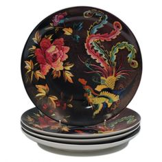 Anna Chandler Dinner Plates Set 4 'Chinese Embroidery'