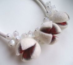 Felt necklace with beads  Winter  Felted necklace  от jurooma