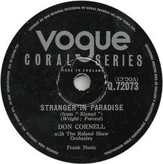 78 RPM - Don Cornell - Stranger In Paradise / The Devil's In Your Eyes - Vogue Coral - UK - Q.72073