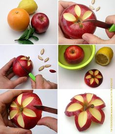 Making Bento apple flower - Moodkids # - Fruit - Bento Ideas Fruits Decoration, Deco Fruit, Apple Flowers, Creative Food Art, Food Garnishes, Garnishing, Fruit And Vegetable Carving, Food Carving, Fruit Arrangements