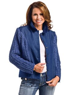 Sewing pattern, but would be cool to find an old denim vest or jacket and crochet new sleeves.  An idea.