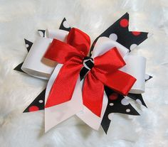 Large Girls Red White Polka Dot 6 inch Triple by BonnieJBoutique, $7.00