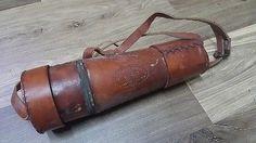 antique brass hanging belt old spyglass leather mounted vintage ...