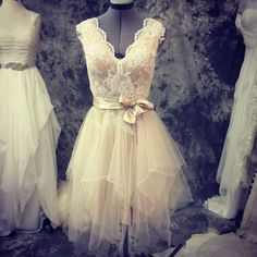 Perfect Fall Garden wedding dress-lace and tulle short wedding dress-made to order-champagne and ivory