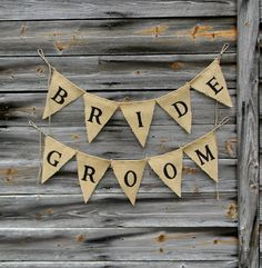 Burlap Bunting Banner Rustic Wedding Decor by CarolinaVintageCo, $35.00