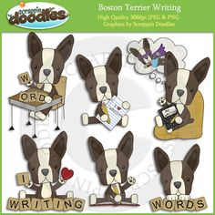 Boston Terriers Love to Write Clip Art Download