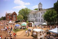 Oxford, MS is one of my true loves. This is a picture of the courthouse and part of the Square during an annual springtime festival, Double Decker. I miss this sweet little town.