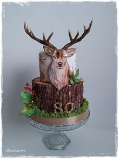 Hand painted deer - cake by Blacksun Hunting Birthday Cakes, Birthday Cakes For Men, Deer Cakes, Deer Hunting Cakes, Hunting Grooms Cake, Dad Cake, Animal Cakes, Painted Cakes, Cute Cakes