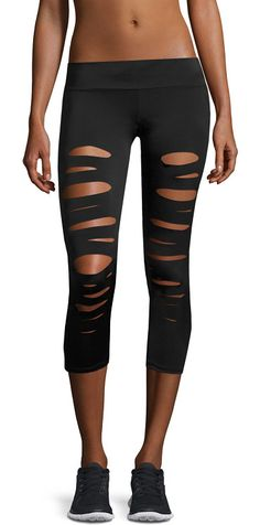 """Shred Capri Performance Leggings by onzie. Onzie """"Shred"""" performance leggings featuring cutout details that provide style and ventilation. May be worn as leggin..."""
