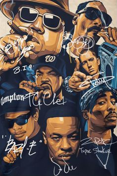 ©Great : Rap Legends Notorious BIG Snoop Dogg Ice Cube Eminem Tupac Signature Poster Source by marcusmeiokilu Eminem Wallpapers, Dope Wallpapers, Tupac Wallpaper, Rap Wallpaper, Arte Do Hip Hop, Hip Hop Art, Dope Cartoons, Dope Cartoon Art, Snoop Dogg