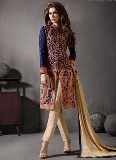 Party wear salwar suits collection. Shop online this georgette and jacquard embroidered and resham work churidar designer suit.