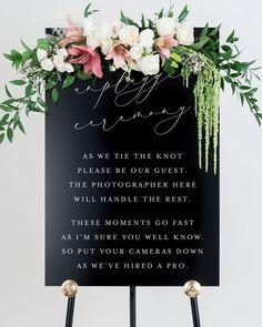 Wedding Reception Decorations Elegant, Wedding Reception Timeline, Wedding Ceremony Signs, Elegant Wedding Invitations, Wedding Ideas, On Your Wedding Day, Dream Wedding, Unplugged Wedding Sign, Thing 1