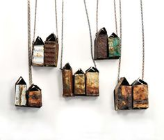 kat cole, house necklaces, she's an ECU-grad! Ceramic Jewelry, Ceramic Beads, Metal Jewelry, Pendant Jewelry, Jewelry Art, Jewelry Design, Pottery Houses, Ceramic Houses, Ideas Joyería