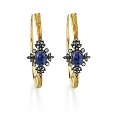 Arman Sarkisyan gold hoop earrings with tanzanite, diamonds and oxidised silver.