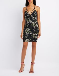 Floral Mesh Strappy Bodycon Dress | Charlotte Russe