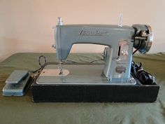 Mouse over image to zoom  Have one to sell? Sell it yourself Vintage Elctro-Grand Sewing Machine Aqua & Polished Stainless, Looks/Works Great - on ebay june 30, 2013 for $149