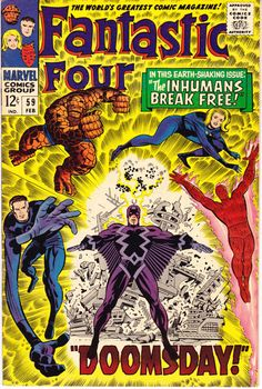 Fantastic Four 59 Inhumans comic book. 1967 VFNM The Human Torch Jack Kirby
