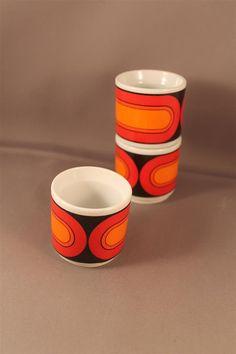 Original 70s Vintage 3x Egg Cups Eggcups Set Form 3000 Sizilia Pop Design by Hans Theo Baumann for Arzberg Germany Orange Base Pop Space Age