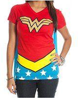 DC Comics Wonder Woman Juniors Red V-Neck Cape T-Shirt