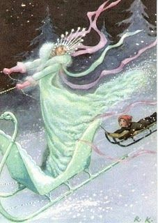 """""""Classic Illustration of the original tale: Kai and the Snow Queen. _ Illustrated by Rudolf Koivu, 1940 H. Andersen: The Snow Queen. Rudolf Koivu was Finnish artist, who mainly illustrated fairy tales. Fairytale Art, Hans Christian, Snow Queen, Children's Book Illustration, Book Illustrations, Fantasy Art, Book Art, Fairy Tales, Artwork"""