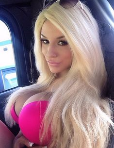 Barbie Girl: Courtney Stodden posed in a hot pink bikini top in the back of a car after a trip to the beach in an Instagram photo posted Tue...