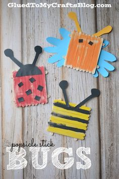 Cute and simple popsicle Stick bugs. Fun summer kid craft!