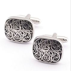 Silver Cuff Links With Black Inlay - Martin-Klacko Men's Collection
