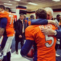 SnapWidget | Head Coach John Fox hugs Matt Prater, who earned a game ball with his NFL-record 64-yard FG in Denver's win vs. Tennessee. Visit DenverBroncos.com to watch the kick. #TENvsDEN