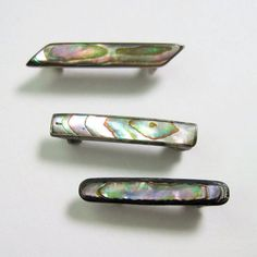 antique Edwardian lingerie pins, sterling and abalone.
