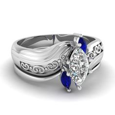Twisted Marcasite Set    Marquise Shaped Diamond Wedding Set With Blue Sapphires In 14k White Gold