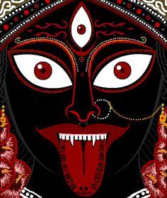 Jai Kali Maa by on DeviantArt Mother Kali, Divine Mother, Kali Goddess, Mother Goddess, Indian Gods, Indian Art, Kali Yantra, Goddess Of Destruction, Kali Tattoo