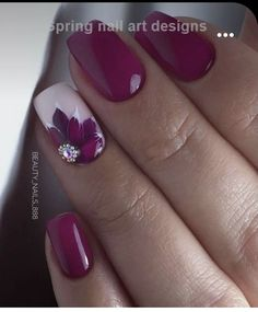 Flower Nail Designs, Cool Nail Designs, Coffin Nails Matte, Red Nails, Winter Nails, Spring Nails, Cute Nails, Pretty Nails, Feather Nails