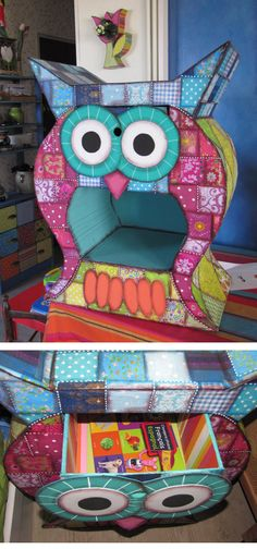 How do I make thee, cute owl? Diy Cardboard Furniture, Paper Furniture, Cardboard Paper, Cardboard Crafts, Hand Painted Furniture, Funky Furniture, Paper Crafts, Diy Crafts, Cardboard Playhouse