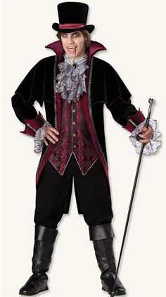 VAMPIRE OF VERSAILLES COSTUME - Dark characters are decked out in French Renaissance finery. Vampire includes coat and capelet, lace sleeves, vest and dickey, hat and spats.