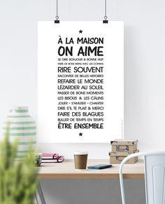Affiche - Règle de vie ' à la maison'- texte à télécharger : Affiches, illustrations, posters par rgb