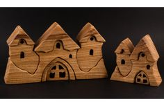 Wooden puzzle castle set by HollossyWoodworks on Etsy