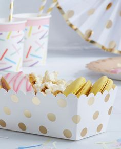 Gold Polka Dot Food Trays