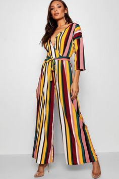 0918edea15 Kayla Multi Stripe Wrap Jumpsuit - boohoo, outfit inspo, what to wear, how