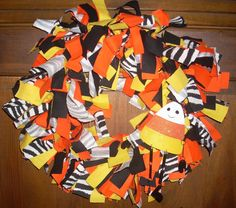 Halloween Rag Wreath Candy Corn Ornament by DottiesWeddings, $28.00