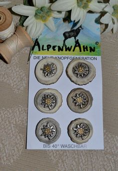 Horn Buttons with Edelweiss - Set of Six
