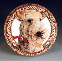 Hand Painted Pottery by Nan Hamilton, Airedale Dog Art in Boston MA Airedale with one quirky ear