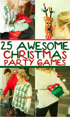 25 funny Christmas party games that are great for adults for groups for teens and even for kids! Try them at the office for a work party at school for a class party or even at an ugly sweater party! I cant wait to try these for family night this Chr Funny Christmas Party Games, Xmas Games, Christmas Games For Kids, Holiday Games, Christmas Humor, Holiday Fun, Christmas Holidays, Christmas Crafts, Minute To Win It Games Christmas
