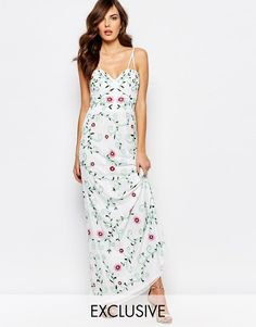 ASOS - Image 1 ofFrock and Frill Embroidered Maxi Dress With Sheer Bodice