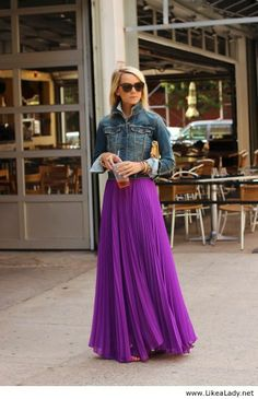 Maxi skirt & jean jacket- I wish I was taller to pull this off!