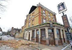 Duchess Pub in Battersea with a damaged roof